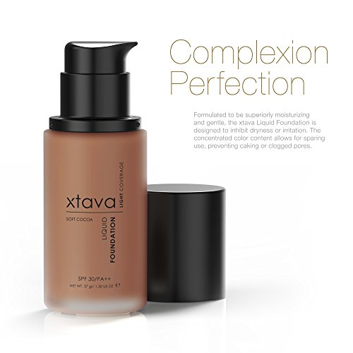 xtava Sheer Matte Liquid Foundation with SPF 30 - Natural, Luminous, Professional Quality Formula with Buildable Coverage - Cruelty Free Makeup - Crafted in Korea (Soft Cocoa)
