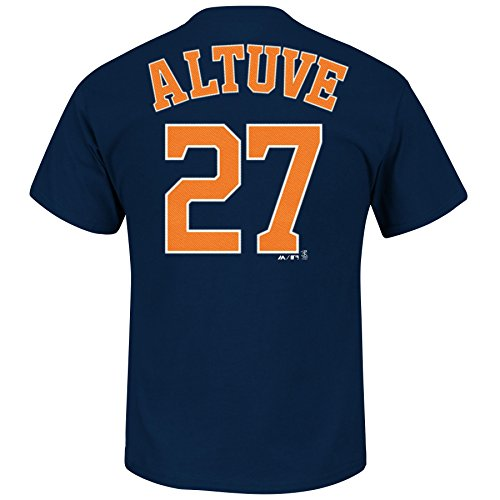 Majestic Jose Altuve Houston Astros Navy Jersey Name and Number T-Shirt Large