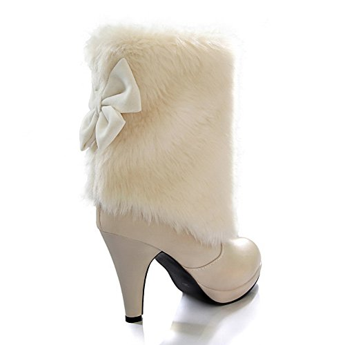 Platform Imitated Ladies Leather Stiletto Gold 1TO9 Bowknot Beige Spun Boots ExYBwEdp