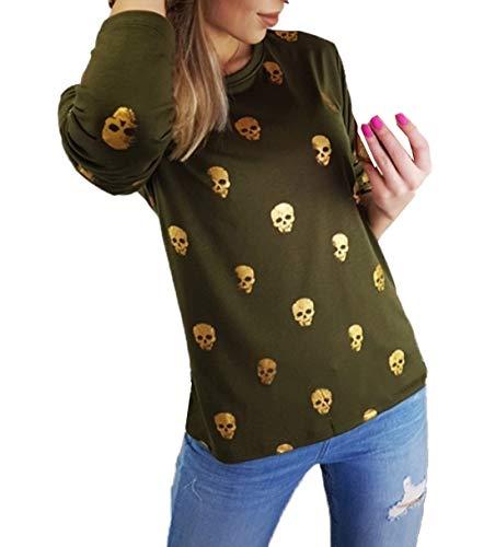 Tops Primavera Bluse Autunno Cime Cranio Casual Collo A Maglie Moda Donne Lunga T Manica Camicie Stampa Rotondo Jumper shirt Maglietta qBw57ABP1r