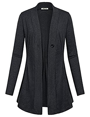SeSe Code Women's Long Sleeve Draped Open Front Kint Casual Cardigan(FBA)