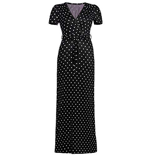 memorytime Women Dresses, Retro Polka Dot V Neck Short Sleeve Bandage Summer Slim Fit Maxi Dress Black S
