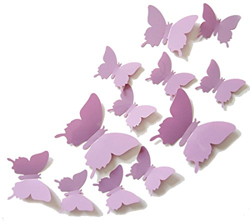 Cute Product 12Pcs 3d Butterfly Removable Wall Decals Diy Home Decorations Art Decor Wall Stickers Murals for Babys Kids Bedroom Living Room Classroom Office(Color: Light Purple)