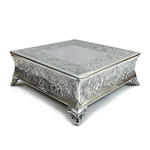 Aluminium Square Wedding Cake Stand Intricately Floral Designed