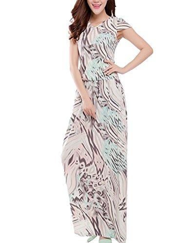 Moollyfox Mujer Maxi Vestido Largo V Cuello Manga Corta Chiffon Vestido de la Playa Como en la foto