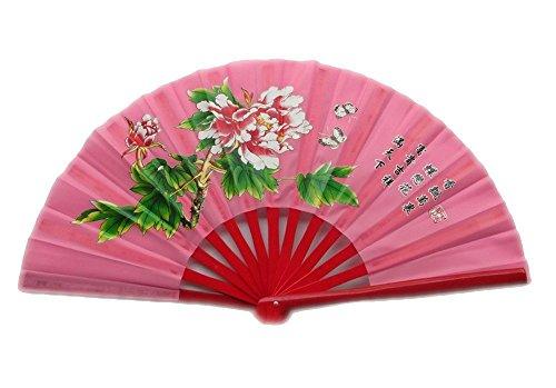 ZooBoo Chinese Bamboo Taichi Kungfu Fan Martial Arts Sports Folding Hand Fan 13inch (Pink)