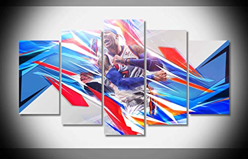 My Canvas Art 5pcs Carmelo Anthony NBA Basketball Star Artwork Prints for Living Room Home Decoration Framed Ready to Hang