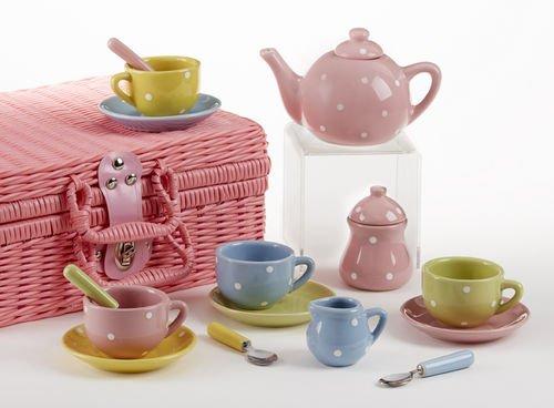 Delton Products Porcelain Tea Set with Basket and Dots (17 Piece), 4.25