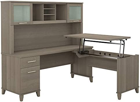 Bush Furniture Somerset 72W 3 Position Sit to Stand L Shaped Desk with Hutch in Ash Gray