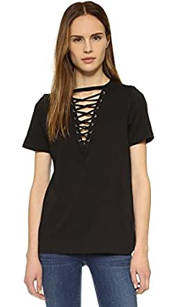 Glamorous Women's Lace Up Tee, Black, X-Small