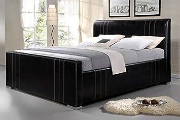 King Size Großes Lederbett Polsterbett Komfortbett Braunes Leder Bett  Bettgestell 180x200 Cm Schöne Lederoptik Inklusive Lattenrost