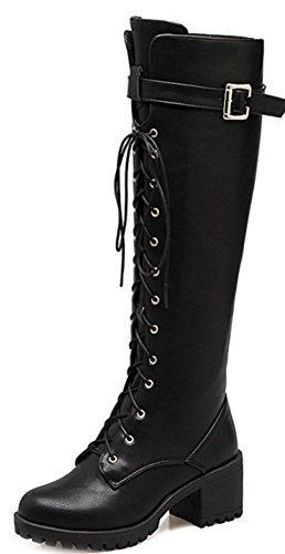 Up Aisun Heels Black Lace Toe Block Round Booties High Women's Top Cool Mid qOORwXC