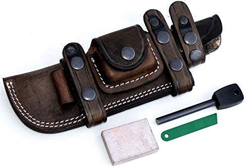 CFK Cutlery Company Custom Handmade Brown Leather 7.75-Inch Blade Bushcraft Hunting Tactical Knife Right/Left Hand Horizontal Scout Sheath & Sharpening Stone & Fire Starter Rod Set CFK148