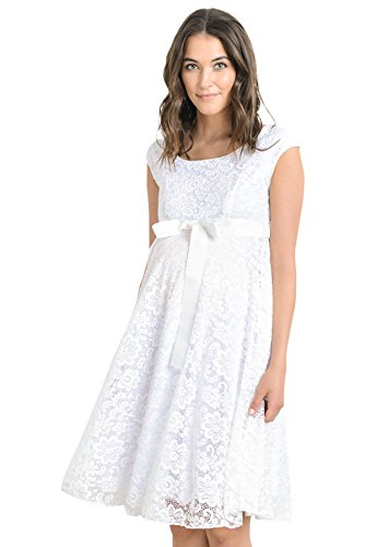 Hello Miz Maternity Floral Lace Baby Shower Party Cocktail Dress with Satin Waist (Medium, White) (Satin Dress Floral)