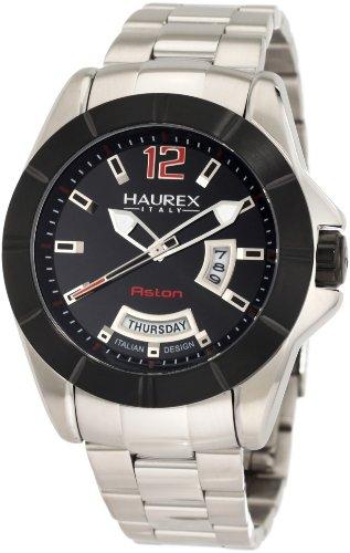 Haurex Italy Men's 7D366UNR Aston Black PVD Bezel Day and Date Steel Bracelet Sport Watch - Stainless Steel Aston Watch