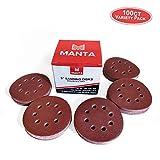 Manta 8-hole 5-in Hook and Loop Orbital Sanding Discs with 60/80/120/180/220 Grit - 100ct Multi-Pack