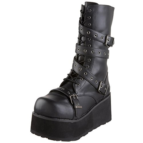 Summitfashions 3 1/4 Inch MENS Gothic Punk Style Combat Boot Calf Boot Black