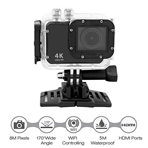 QLPP 4K Action Underwater Camera 16MP WiFi Diving 5 Meter Waterproof Sport Cam with 1000mah Rechargeable Batteries and Multiple Accessories for Biking Snorkeling Surfing