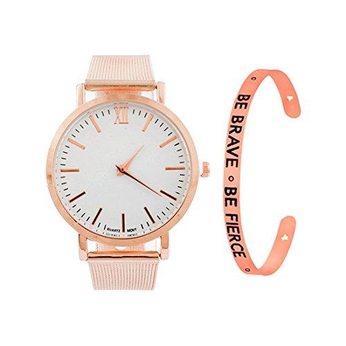 Loweryeah Women 2 Pcs Quartz Watch Cuff Engraved Bangle Bracelet Set Watch with Mesh Band (Rose Gold Color)