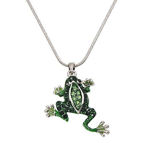 Lola Bella Gifts Green Crystal Frog Pendant Necklace with Gift (Green Crystal Frog)