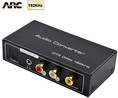 AMANKA HDMI Extractor de Audio 192KHz Convertidor DAC ARC Extractor de Audio Soportar HDMI Audio Digital a Audio Analógico RCA L/R, Toslink y 3,5 mm Jack ARC Adaptador de Audio para TV: