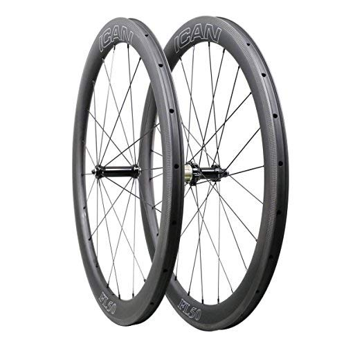(ICAN FL50 Carbon Road Bicycle Wheelset Clincher Tubeless Ready Rim Novatec AS511SB/FS522SB Hub Sapim CX Ray Spokes Only 1470g (Fast & Light Series))