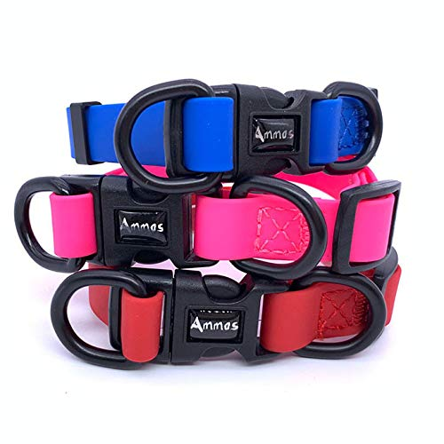 Ammos Waterproof Dog Collar, Smell-Proof Active Dog Collar, Coated Nylon Webbing, Super Soft (Large, Blue) (Nylon Coated Webbing)