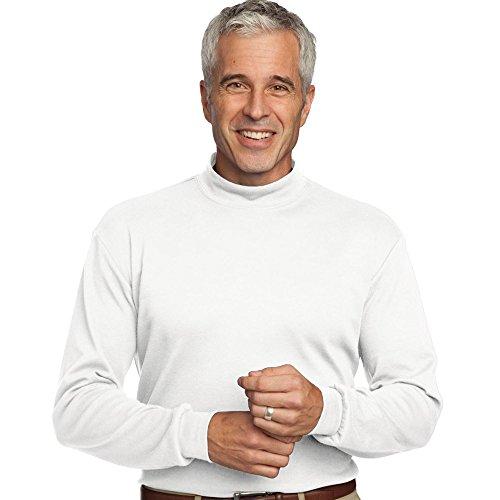 Turtleneck Interlock Cotton Mens (Port Authority Interlock Knit Mock Turtleneck, White, L)