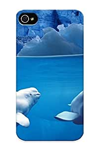 New Blue NIVXJGS366gEhhx Belugas Underwater Skin Case Cover Shatterproof Blue Case For Iphone 4/4s by icecream design