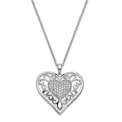 925 Sterling Silver Cubic Zirconia Cz To My Daughter 18 Inch Heart Chain Necklace Pendant Charm S/love Inspirational Fine Jewelry Gifts For Women For Her]()