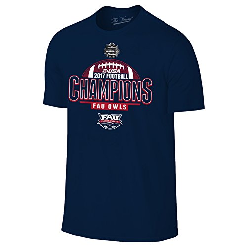 UGP Campus Apparel Fau Owls 2017 C-USA Conference Champions Football T-Shirt - Small - Navy (Fau Owls)