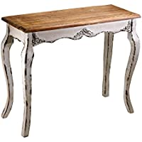 French Country Distressed White Wood Console Table