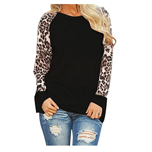 Women Shirts Plus Size Clearance Leopard Casual Long Sleeve Blouse Tunic Girls Sweatshirt Pullover Tops  3Xl  Black