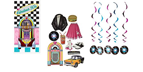 Fabulous 50's Party Decorations - 50's Door Cover, Rock & Roll Record Whirls, AND 50's Cutouts - Rock & Roll Party Decorations - 16 Pieces ()