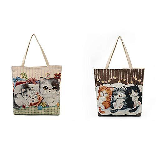 MoGist Borsa da spiaggia carina ricamata gatto serie stampa borsa da donna Shopper borsa a tracolla con chiusura lampo, Blu, 35 * 10 * 40cm