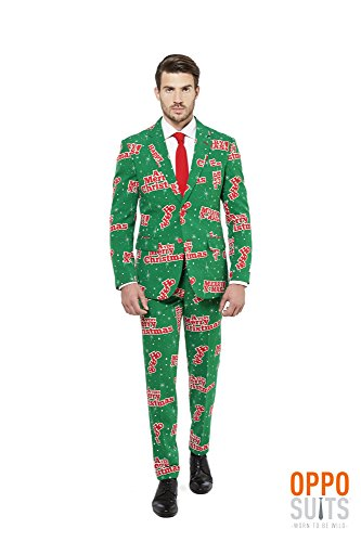 Do It Yourself Halloween Costumes Men (OppoSuits Men's Happy Holidude-Party Costume Suit, Green/Mixed, 42)