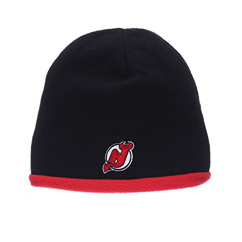 New Jersey Devils NHL Flip Out Reversible Fleece Knit Beanie Hat Black/Red