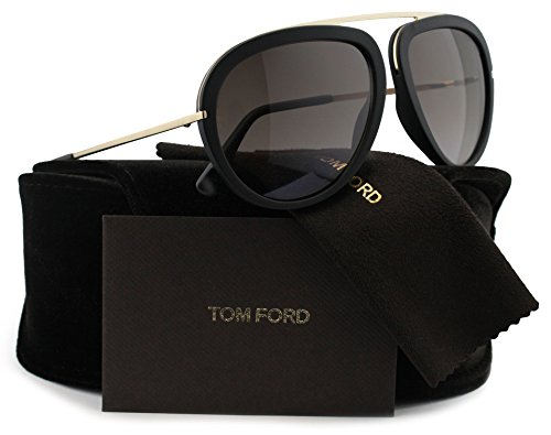 TOM FORD FT0452 Stacy Aviator Sunglasses Matte Black w/Brown Gradient (02T) TF 452 02T 57mm - Tom Ford Sunglasses Stacy
