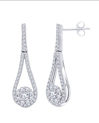 Natural Diamond Open Pear-Shaped Frame with Flower Drop Earrings in 10K Solid Gold (0.5 Cttw) by Wishrocks