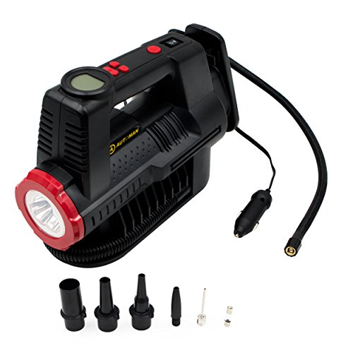 AUTOMAN 12 Volt Air Compressor Digital Gauge 150 PSI, 12 V DC Portable Car Tire Inflator, LED Torch, Auto Shut-off, 5 High air Flow Adaptors, for Car, motorbike, Bicycle,sports ball,air bed AT2227B Inflator Shut Off Adapter