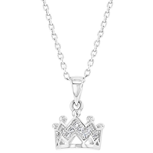 925 Sterling Silver Princess Crown Necklace Pendant Girls Kids Clear CZ 16