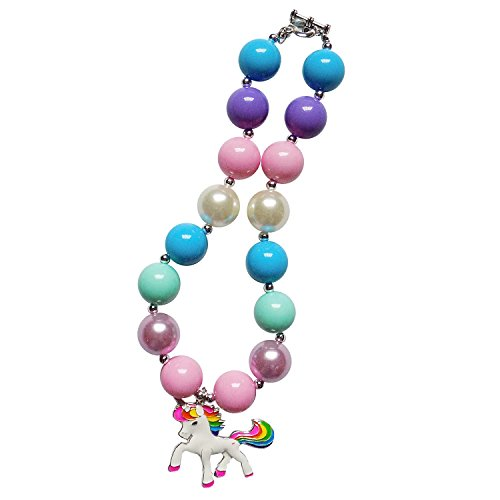 So Sydney Baby Toddler Girls Princess Chunky Bubblegum Beads Beaded Necklace (Unicorn (Mint Beaded Necklace)