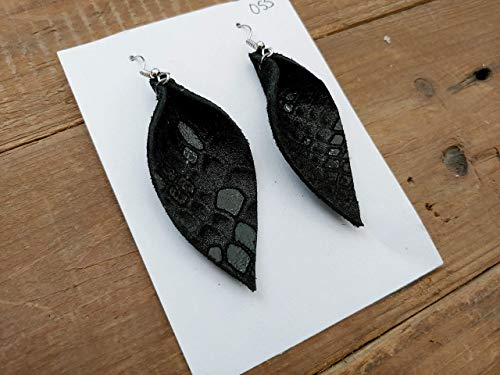 Mini leather feather earrings - black metallic snakeskin print leather