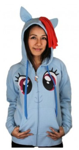 My Little Pony Rainbow Dash Face Juniors Sky Blue Costume Hoodie with Mane and Wings