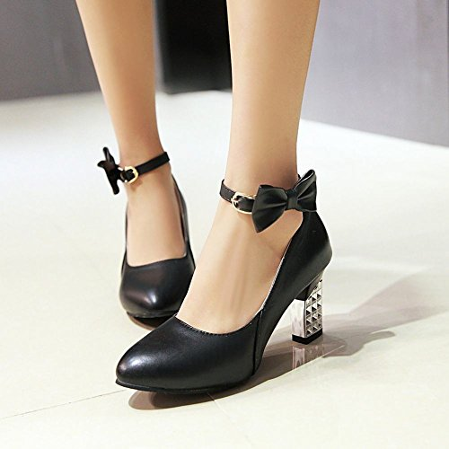 Mee Shoes Women's Sweet High Heel Bows Upper Pointed Toe Buckle Court Shoes Black ywgJyFO