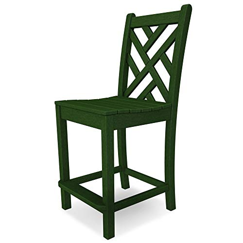 POLYWOOD Chippendale Counter Side Chair Finish: Green