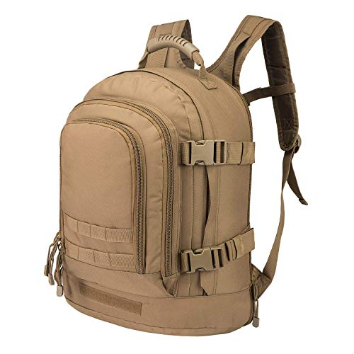 GreenCity Military Outdoor Backpack,Expandable Tactical Backpack,Travel Backpack,DIY System Up to 64L Loading Space for Travel,Camping,Hunting,Trekking and Hiking (Coyote, Not with Belt) ()