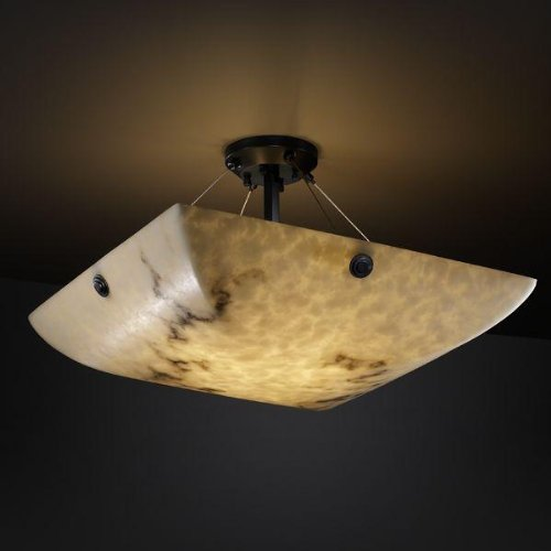 Justice Design Group LumenAria 8-Light Semi-Flush - Matte Black Finish with Faux Alabaster Resin Shade
