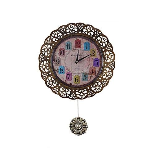 Western style Retro Pendulum Clock Metal Case Quartz Movement Creative Wall Clock Decorative Home,30cm