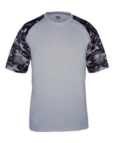 Front Adult Baseball - Blank Front/Back Silver/Black Camo Adult 3X Sleeve Wicking Jersey Uniform Shirt